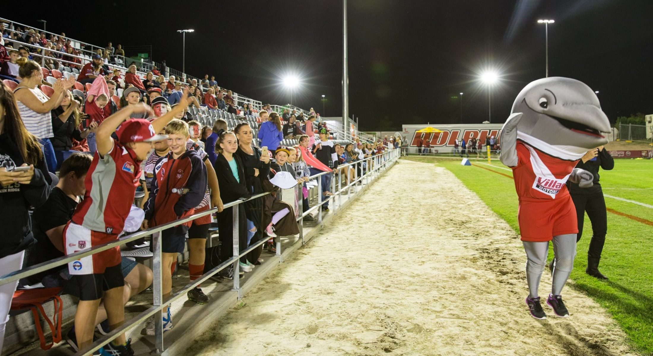 Redcliffe Dolphins Rugby Stadium Grand Opening Mascot And Crowd