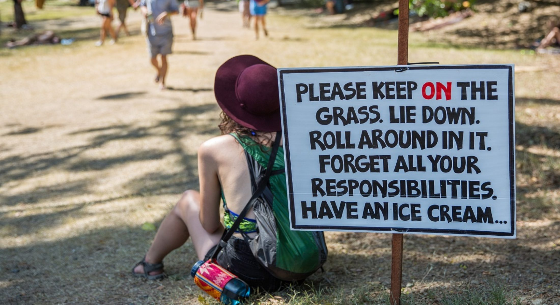 Woodford Folk Festival Keep On The Grass Sign Camping Music Festival Moreton Bay Region